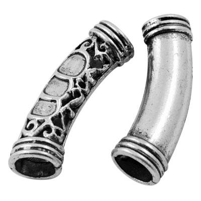 Perlerør antik sølv 6 mm hul