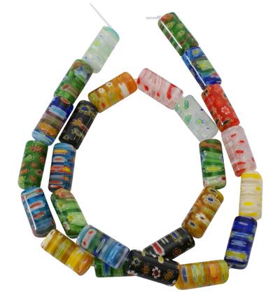Glasperler Millefiori tube