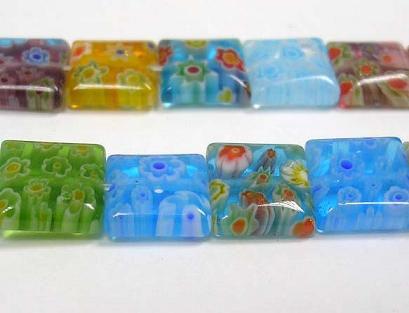 Glas perler Millefiori firkanter 8 mm
