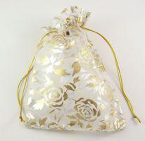 Organza pose Hvid med gyldne blomster