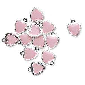 Vedhæng 9 x 7 mm hjerte rosa 12 stk