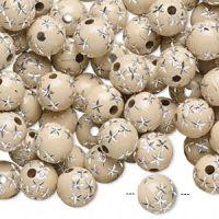 Acrylperler 8 mm bailey med sølv stjerner