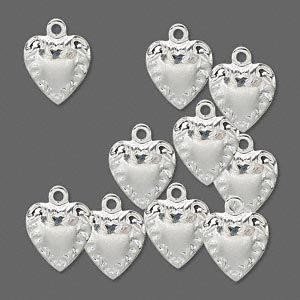 Vedhæng hjerte sølvbelagt 10x10 mm
