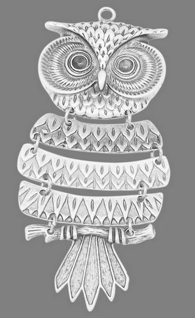 Vedhæng Ugle antik sølvfarve 103 x 43 mm