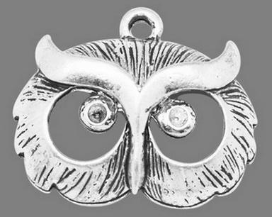 Vedhæng Ugle antik sølvfarve 20 x 25 mm