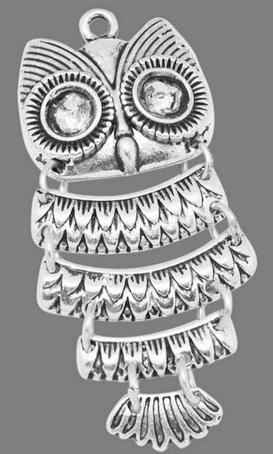 Vedhæng Ugle sølvfarve 45 x 23 mm