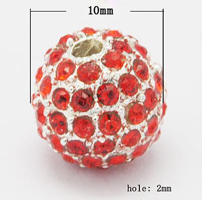 Rhinsten perle 10 mm rød