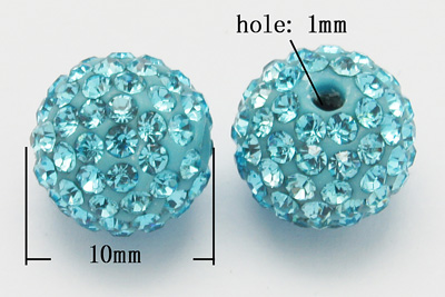 Rhinsten perler 10 mm Blå