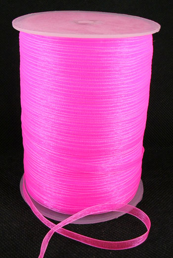 Pink Organza bånd 6 mm Hel Rulle