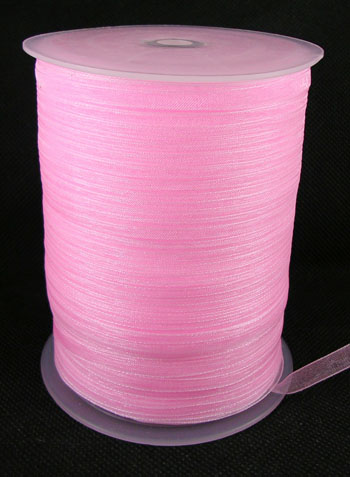 Lys Pink Organza bånd 6 mm Hel Rulle