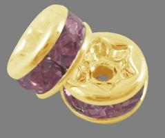 Guldfarvet rhinsten rondel pink