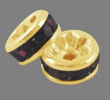 Guldfarvet rhinsten rondel mørk ametyst