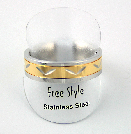 Fingerring rustfri stål og guld med mønster