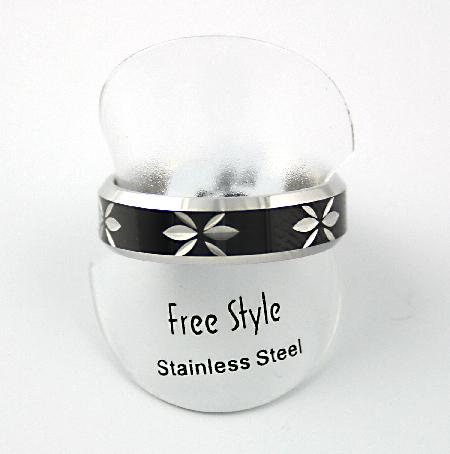Fingerring rustfri stål med sort og mønster