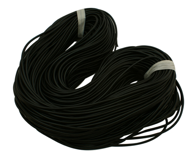 Gummisnøre 3 mm hul sort