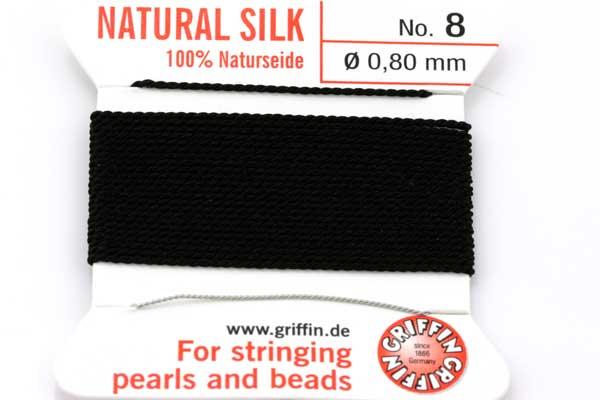 Ægte silketråd 0,80 mm Sort med nål