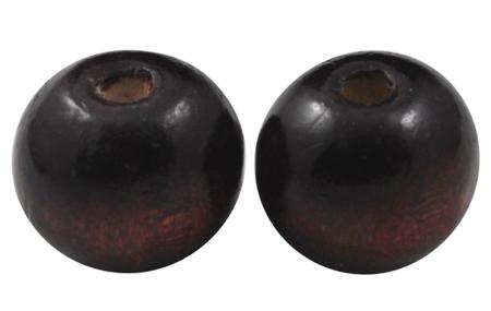 Træperler 12 mm mørk brun 20 stk