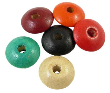 Træperler 8x4 mm flad mix 50 stk