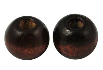 Træperler 9 mm mørk brun 20 stk