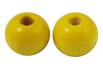 Træperler 9 mm gul 20 stk