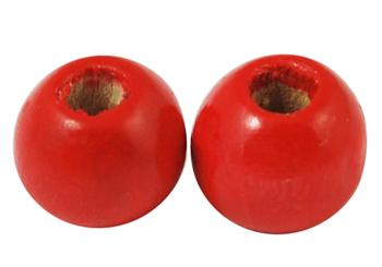 Træperler 9 mm rød 20 stk