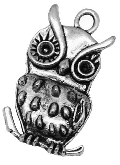 Vedhæng Ugle antik sølvfarve