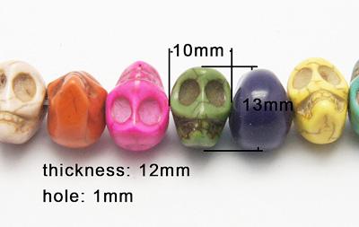Magnesit skull mix farve 10x12 mm
