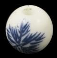 Porcelæns perler håndlavede med blåt motiv