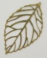 Vedhæng blad antik bronze 54x31 mm