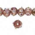 Glasperler pink med sølv