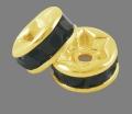 Guldfarvet rhinsten rondel Sort