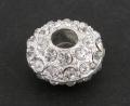 Rhinstens perle, sølv farvet